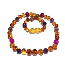 Adult Emily Honey Baltic Amber Amethyst Pink Purple Agate Necklace Jewellery / Necklaces / Beaded Necklaces Love Amber X