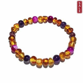 Adult Emily Honey Baltic Amber Gemstone Stretch Bracelet Jewellery / Bracelets / Beaded Bracelets Love Amber X