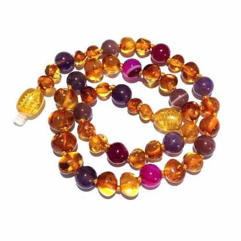 Adult Emily Honey Baltic Amber Pink Purple Agate Gemstones Bracelet Love Amber X