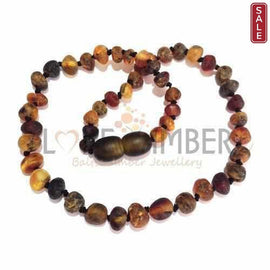 Adult Enchanted Raw Green Baltic Amber Necklace
