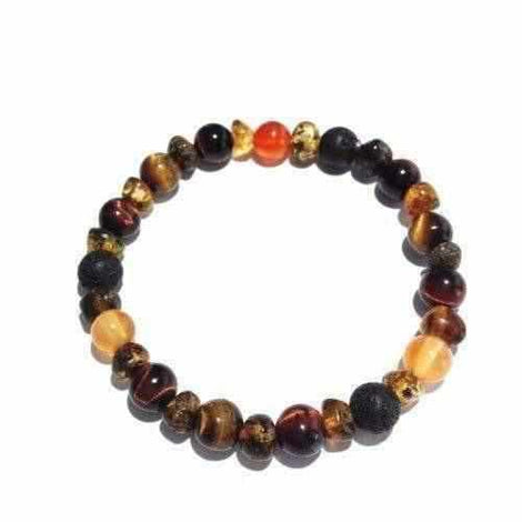 Adult Eros Lava Rock Red Tigers Eye Carnelian Green Baltic Amber Bracelet Libido Jewellery / Bracelets / Beaded Bracelets Love Amber X
