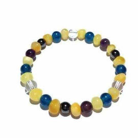 Adult Fusion Gemstones and Butterscotch Baltic Amber Stretch Bracelet Jewellery / Bracelets / Beaded Bracelets Love Amber X