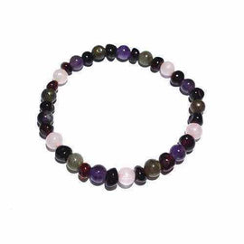 Adult Gaia Cherry Amber Amethyst Rose Quartz Labradorite Stretch Bracelet Love Amber X