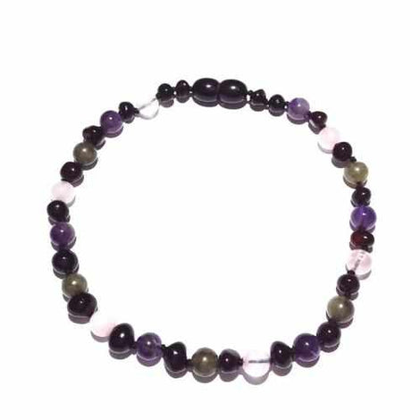 Adult Gaia Cherry Baltic Amber Amethyst Rose Quartz Labradorite Anklet Jewellery / Body Jewellery / Anklets Love Amber X