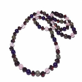 Adult Gaia Cherry Baltic Amber Amethyst Rose Quartz Labradorite Necklace Jewellery / Necklaces / Beaded Necklaces Love Amber X