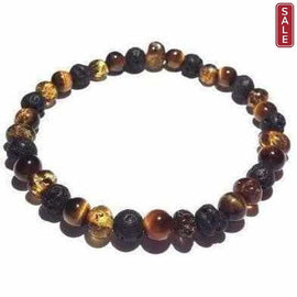 Adult Glam Rock Baltic Amber Tigers Eye Lava Volcanic Stone Stretch Bracelet Jewellery / Bracelets / Beaded Bracelets Love Amber X