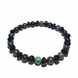 Adult Goddess Cherry Baltic Amber Chrysocolla Stretch Bracelet Jewellery / Bracelets / Beaded Bracelets Love Amber X