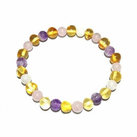 Adult Hormones Tara Moon Baltic Amber Moonstone Amethyst Rose Quartz Stretch Bracelet Love Amber X