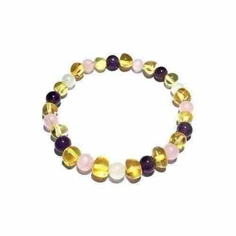 Adult Hormones Tara Moon Baltic Amber Moonstone Amethyst Rose Quartz Stretch Bracelet Jewellery / Bracelets / Beaded Bracelets Love Amber X