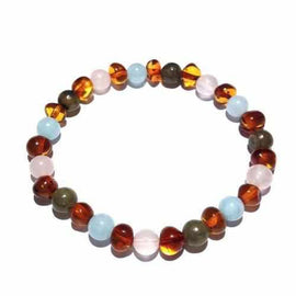 Adult Isla Aquamarine Rose Quartz Labradorite Baltic Amber Stretch Bracelet Jewellery / Bracelets / Beaded Bracelets Love Amber X