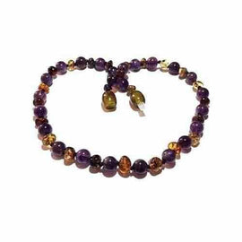 Adult Layla Green Baltic Amber Amethyst Anklet Jewellery / Body Jewellery / Anklets Love Amber X