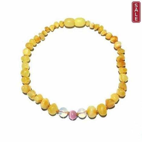 Adult Marshmallow Butterscotch Baltic Amber Pink Cats Eyes Anklet Jewellery / Body Jewellery / Anklets Love Amber X