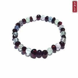 Adult Midnight Brigid Cherry Baltic Amber Fluorite Stretch Bracelet Jewellery / Bracelets / Beaded Bracelets Love Amber X