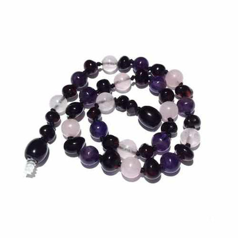 Adult Midnight Tara Cherry Baltic Amber Amethyst Rose Quartz Anklet Jewellery / Body Jewellery / Anklets Love Amber X