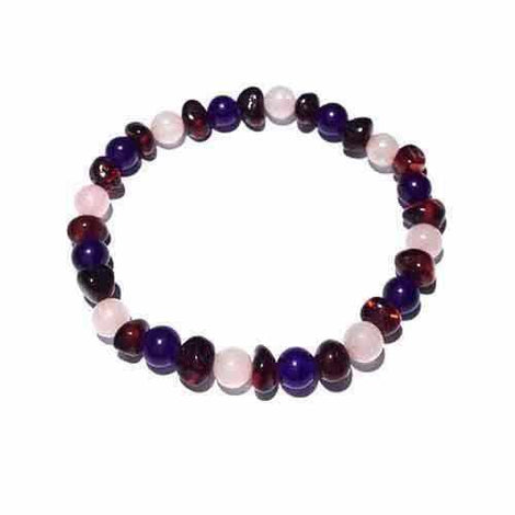 Adult Midnight Tara Cherry Baltic Amber Amethyst Rose Quartz Stretch Bracelet Jewellery / Bracelets / Beaded Bracelets Love Amber X