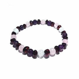 Adult Midnight Tara Moon Baltic Amber Moonstone Amethyst Rose Quartz Stretch Bracelet Jewellery / Bracelets / Beaded Bracelets Love Amber X