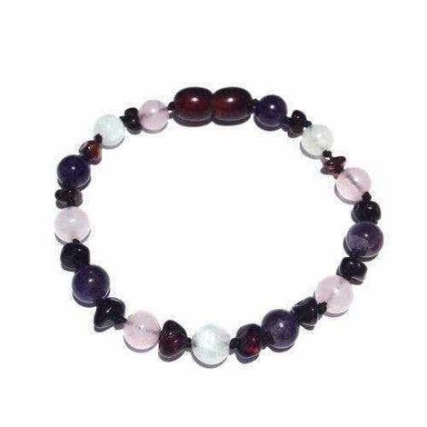 Adult Midnight Tara Moon Cherry Baltic Amber Amethyst Rose Quartz Bracelet Jewellery / Bracelets / Beaded Bracelets Love Amber X