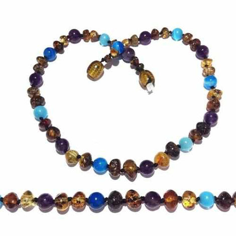 Adult Ocean Green Baltic Amber Amethyst Blue Cats Eyes Necklace Jewellery / Necklaces / Beaded Necklaces Love Amber X