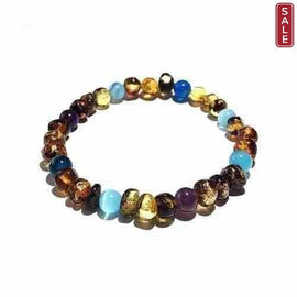 Adult Ocean Green Baltic Amber Amethyst Blue Cats Eyes Stretch Bracelet Love Amber X