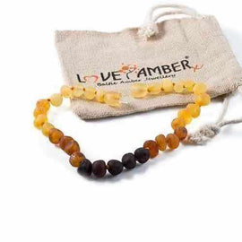 Adult Ombre Raw Rainbow Baltic Amber Anklet Jewellery / Body Jewellery / Anklets Love Amber X