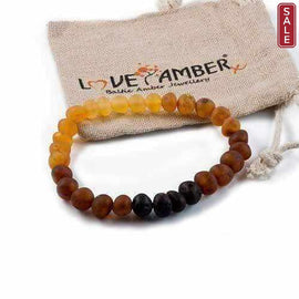 Adult Ombre Raw Rainbow Baltic Amber Stretch Bracelet Love Amber X