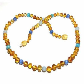 Adult Paradise Baltic Amber Blue Cats Eyes Aquamarine Gemstone Necklace Jewellery / Necklaces / Beaded Necklaces Love Amber X