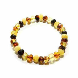 Adult Pebble Beach Mixed Baltic Amber Stretch Bracelet Jewellery / Bracelets / Beaded Bracelets Love Amber X
