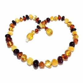 Adult Pebble Beach Polished Mixed Baltic Amber Necklace