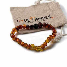 Adult Rainbow Bright Mixed Baltic Amber Stretch Bracelet Love Amber X