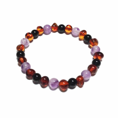Adult Serenity Cognac Baltic Amber Amethyst Shungite Beads Stretch Bracelet Jewellery / Bracelets / Beaded Bracelets Love Amber X