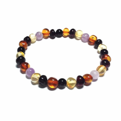 Adult Shanti Mixed Polished Baltic Amber Amethyst Shungite Beads Stretch Bracelet Jewellery / Bracelets / Beaded Bracelets Love Amber X