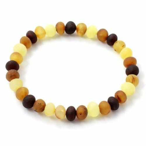 Adult Shingle Raw Mixed Baltic Amber Stretch Bracelet Love Amber X