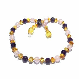 Adult Tara Honey Baltic Amber Amethyst Purple Rose Quartz Anklet Jewellery / Body Jewellery / Anklets Love Amber X