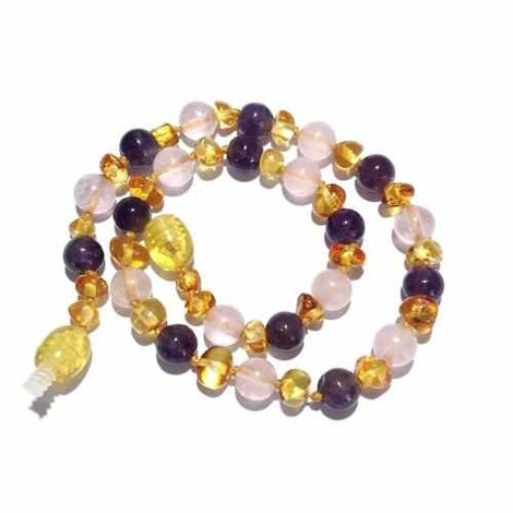 Adult Tara Honey Baltic Amber Amethyst Rose Quartz Bracelet Jewellery / Bracelets / Beaded Bracelets Love Amber X