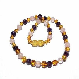 Adult Tara Honey Baltic Amber Amethyst Rose Quartz Necklace Jewellery / Necklaces / Beaded Necklaces Love Amber X
