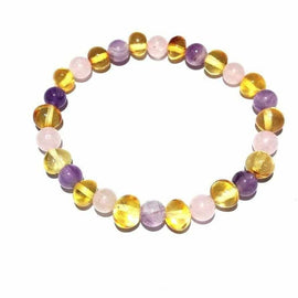 Adult Tara Honey Baltic Amber Gemstone Stretch Bracelet Love Amber X