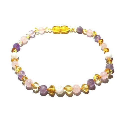 Adult Tara Moon Baltic Amber Moonstone Amethyst Rose Quartz Anklet Love Amber X