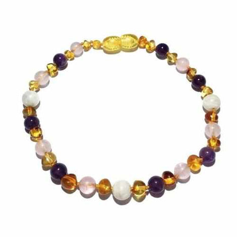 Adult Tara Moon Baltic Amber Moonstone Amethyst Rose Quartz Anklet Jewellery / Body Jewellery / Anklets Love Amber X