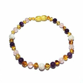 Adult Tara Moon Baltic Amber Moonstone Amethyst Rose Quartz Bracelet Jewellery / Bracelets / Beaded Bracelets Love Amber X