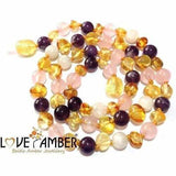 Adult Tara Moon Baltic Amber Moonstone Amethyst Rose Quartz Necklace Jewellery / Necklaces / Beaded Necklaces Love Amber X