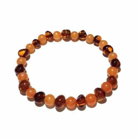 Adult Toffee Apple Cognac Baltic Amber Peach Aventurine Stretch Bracelet Jewellery / Bracelets / Beaded Bracelets Love Amber X