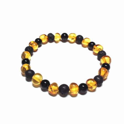 Adult Zeus Honey Polished Baltic Amber Shungite Beads Stretch Bracelet Jewellery / Bracelets / Beaded Bracelets Love Amber X