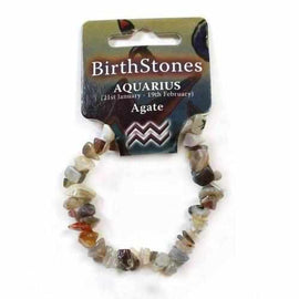 Aquarius Birthstone Adult Elasticated Chip Bracelet Gift - Agate Jewellery / Bracelets / Beaded Bracelets Love Amber X