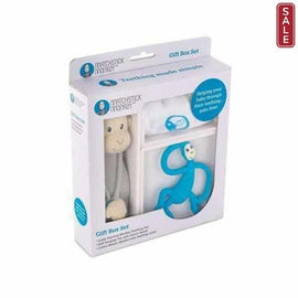 Blue Matchstick Monkey Luxury Teething Baby Gift Set 3 Pieces. Silicone Teethers Matchstick Monkey
