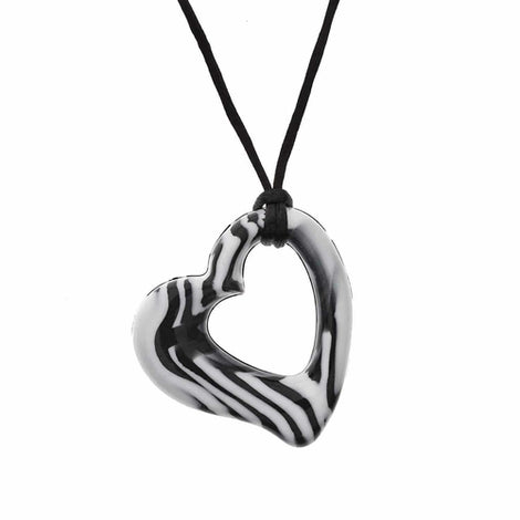 Chewigem - Super Tough, Discreet, Chewable Necklace - & Stimming Aid designed for Anxiety Reduction & Improved Focus. Created as a calming aid for Sensory Processing Difficulties - Autism - ADHD (Miller Heart Pendant -Black & White) Love Amber X Ltd Baltic Amber Jewellery and Silicone Teething Necklaces
