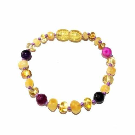 Child Abigail Amethyst Purple Pink Agate Butter Lemon Baltic Amber Anklet Bracelet Jewellery / Body Jewellery / Anklets Love Amber X