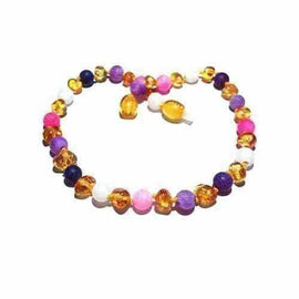 Child Amelie Honey Baltic Amber Pink Purple Dragon Agate Necklace