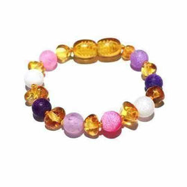 Child Amelie Pink Purple Dragon Agate and Honey Baltic Amber Anklet Bracelet