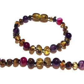 Child Anna Amethyst Purple Pink Agate Green Baltic Amber Anklet Bracelet Jewellery / Body Jewellery / Anklets Love Amber X
