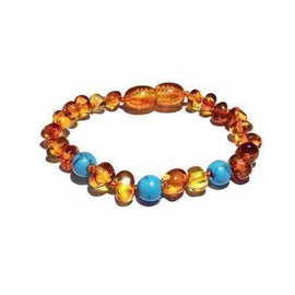 Child Apollo Blue Turquoise Howlite Polished Honey Baltic Amber Anklet